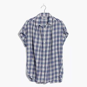 Madewell Open-Back Blue Linus Central Shirt M